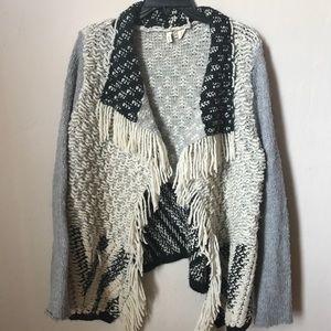 Anthropologie Amba heavy crochet fringe cardigan